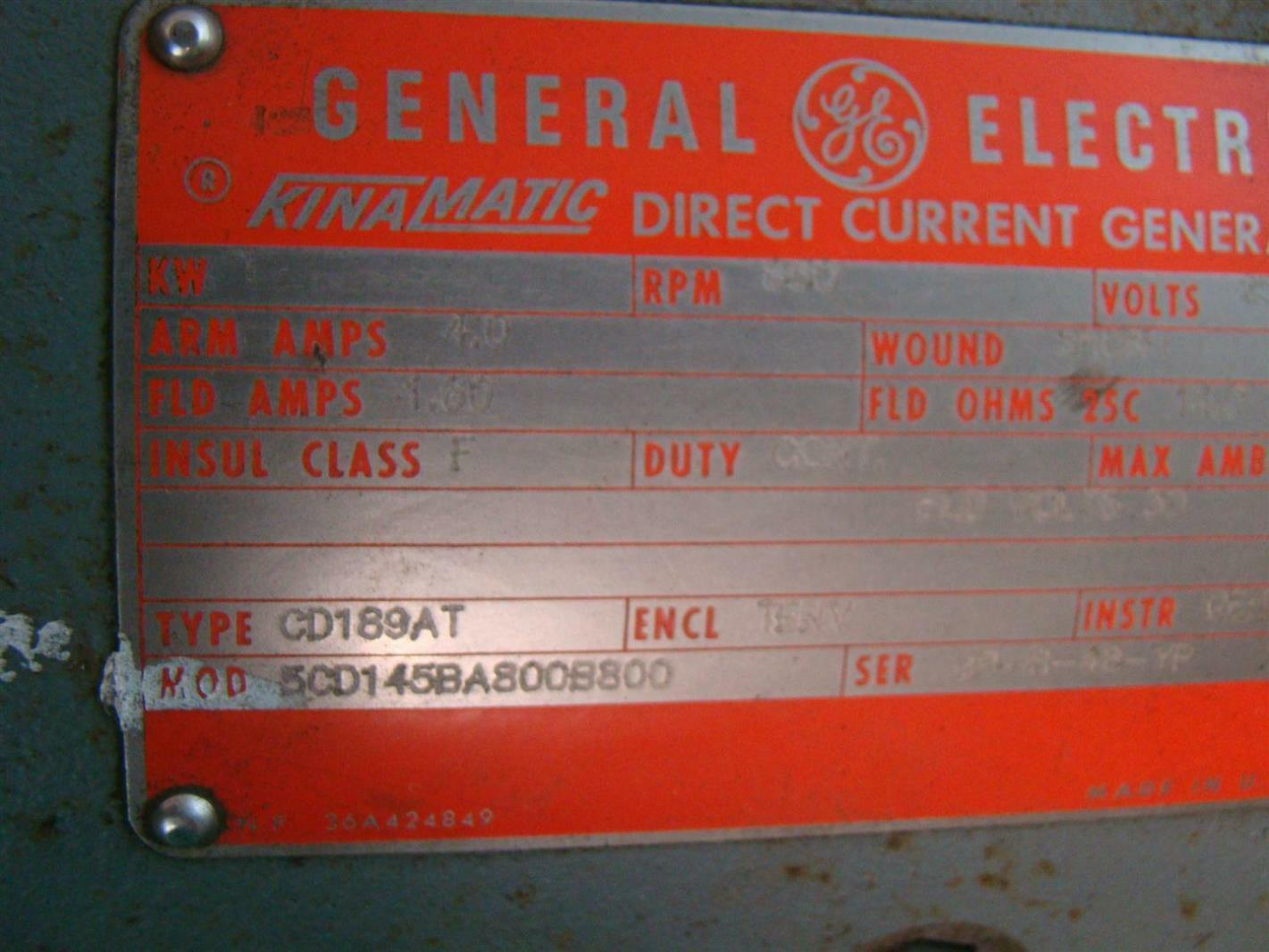 General electric dc motor shunt wound 1kw 850rpm 230v for General electric motor company