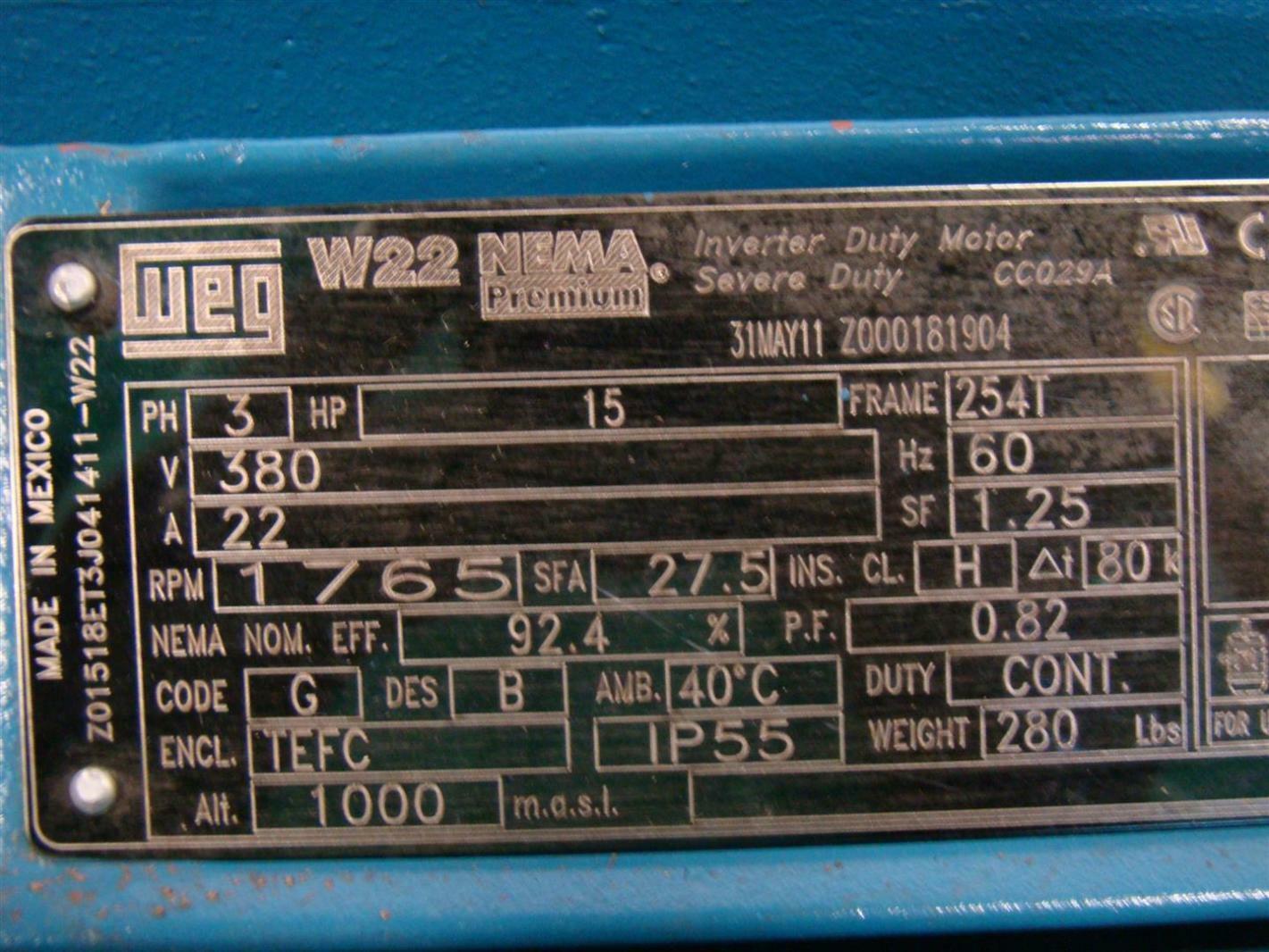 Hp Parts Store >> Weg Motor ph3 15hp 380V 22A 1765rpm Z01518ET3J041411-W22   eBay