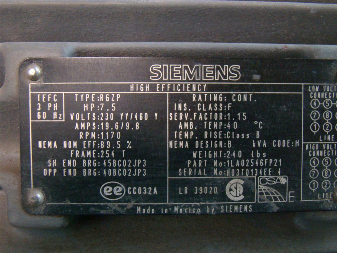 Siemens 7 1 2hp Electric Motor 230 460v 1170rpm