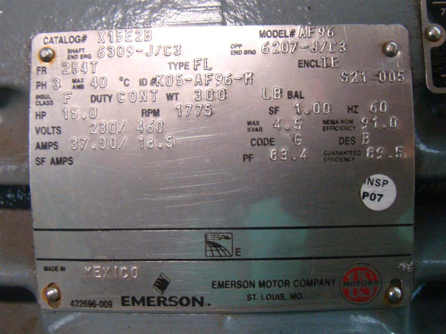 Us motors emerson electric motor 15hp 230460v 3 1775rpm af96 us motors emerson electric motor 15hp 230460v 3 1775rpm af96 publicscrutiny Images