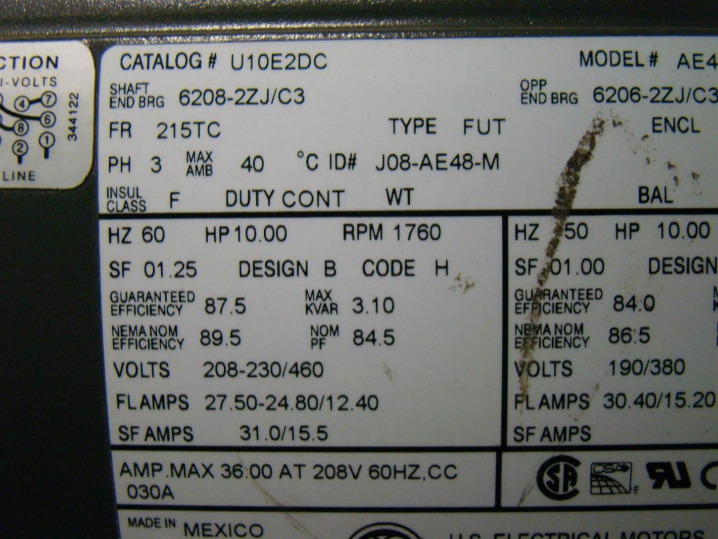 Us motors 10hp electric motor 208 230460v 3 1760rpm ae48 u10e2dc us motors 10hp electric motor 208 230460v 3 1760rpm ae48 u10e2dc publicscrutiny Images