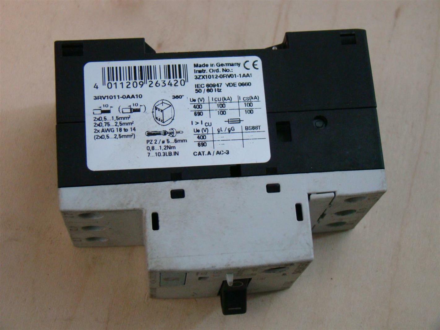 Siemens motor starter 3zx1012 orv01 1aa1 3rv1011 0aa10 Furnas motor starter