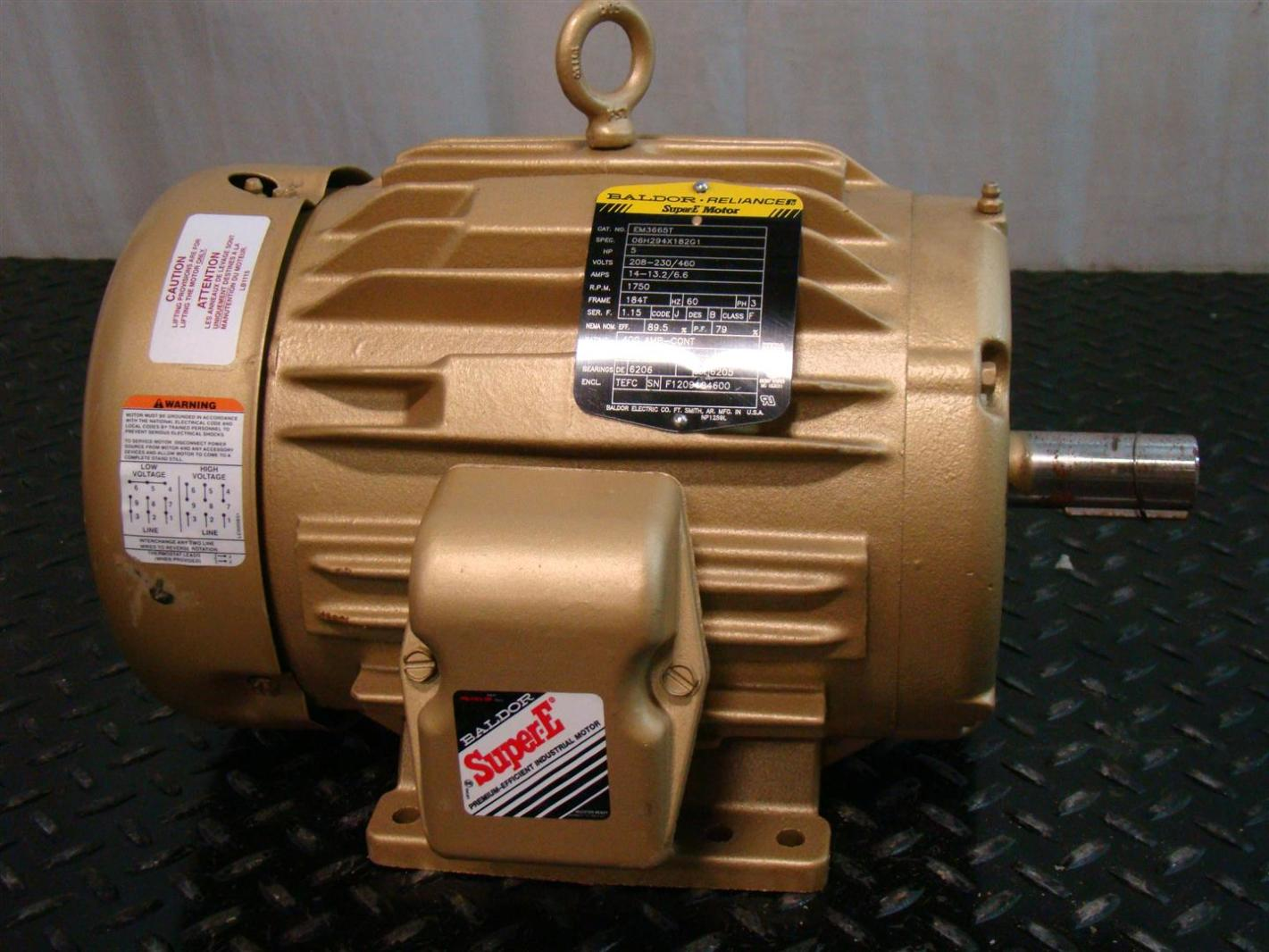Baldor reliancer super e motor 5hp 230 460v 1750rpm 13 2 6 for Baldor industrial motor parts