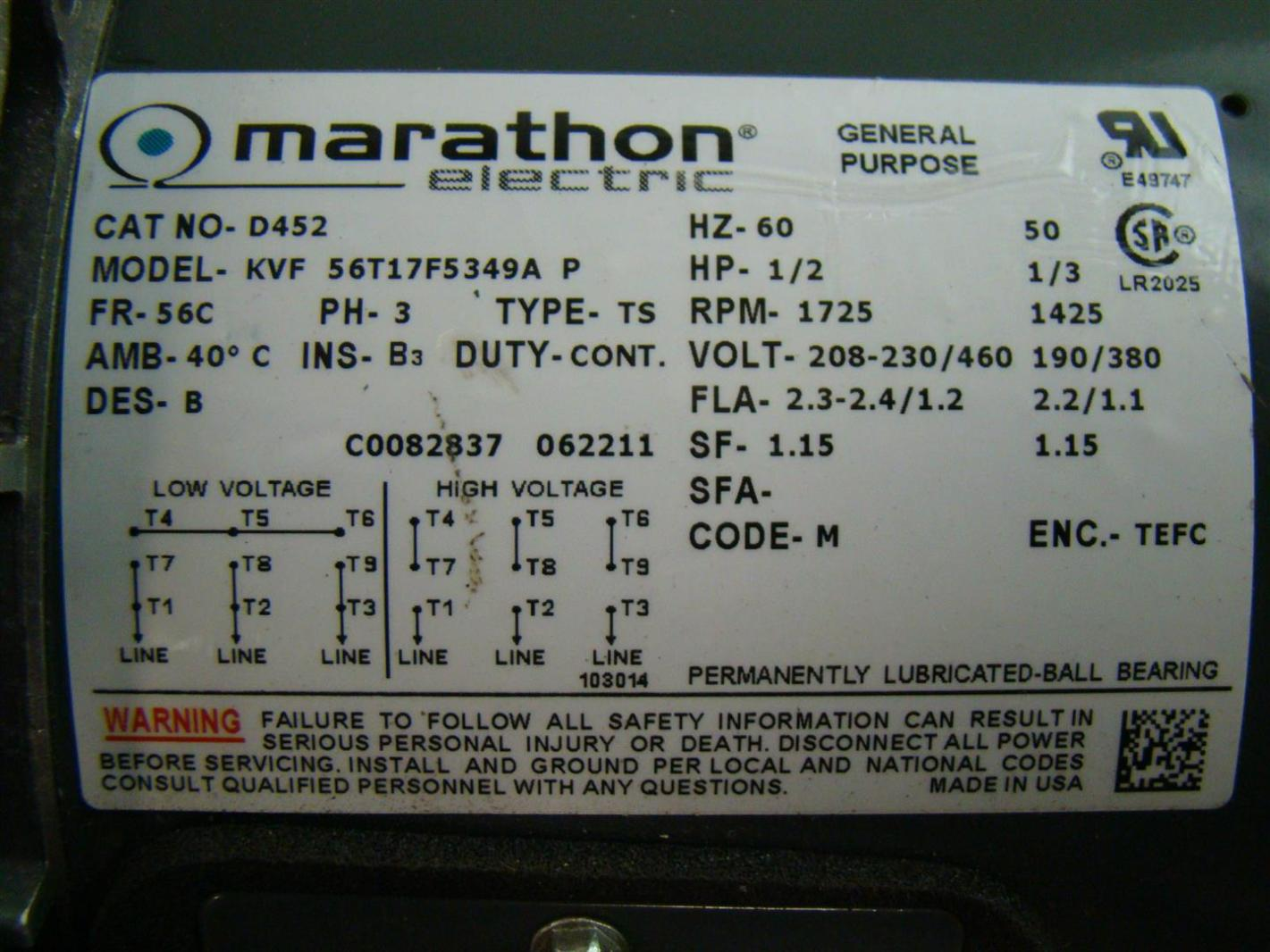 Marathon electric motor motorbrake hp1 2 1725rpm 230 460v for Marathon electric motors model numbers