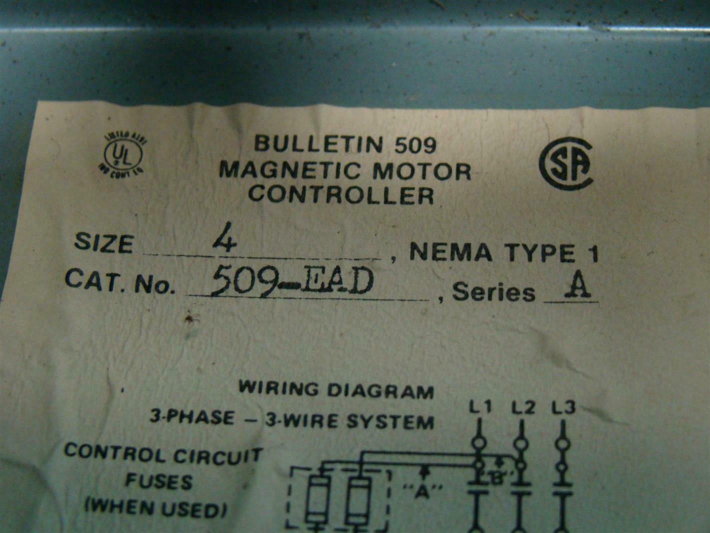 Allen Bradley 509 Motor Starter Wiring Diagram Nema Size 1 4 100hp