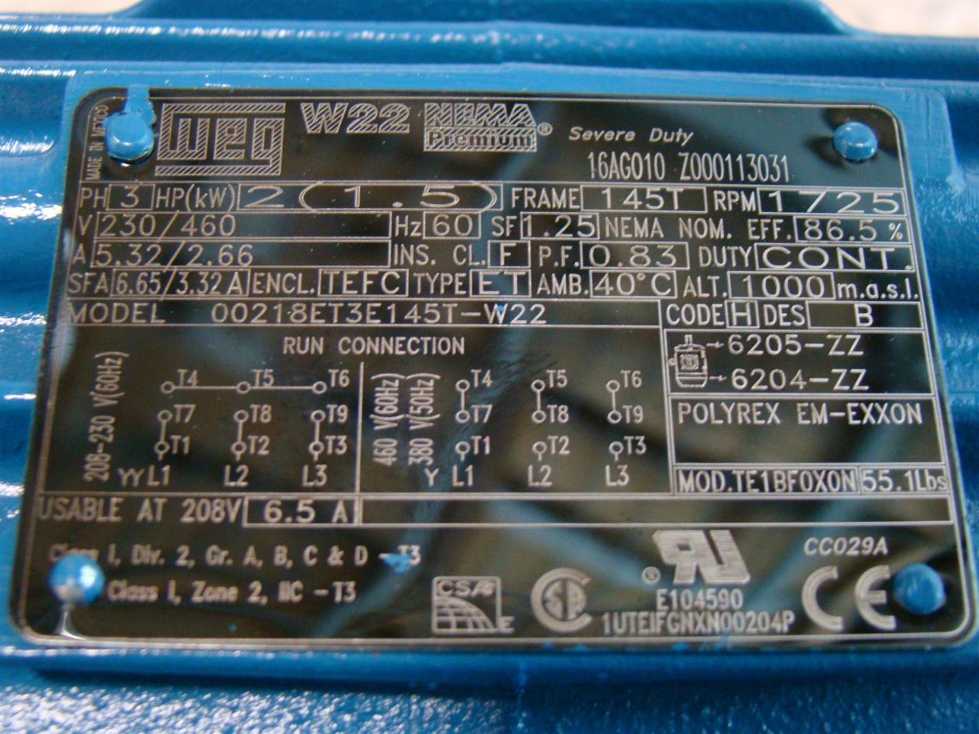 ahw110 weg w22 premium 2hp motor 230 460v 1725rpm 00218et3e145t w22 2 weg w22 motor wiring diagram ewiring weg w22 motor wiring diagram at honlapkeszites.co