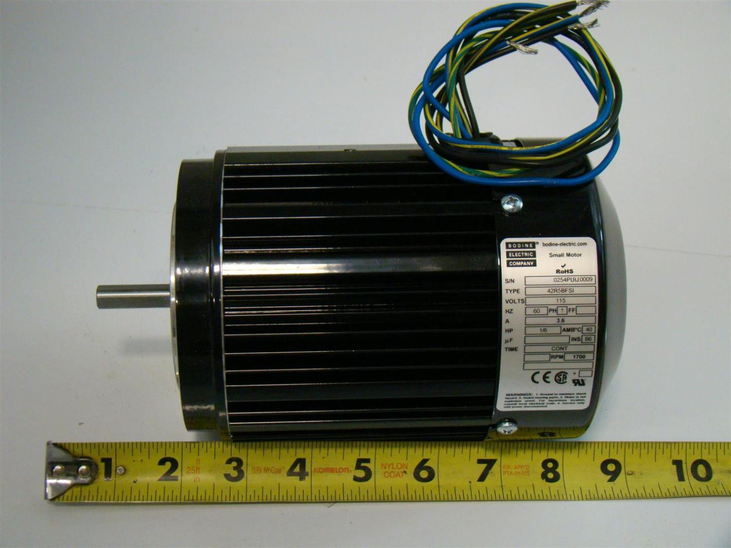 Bodine Electric Motor 1ph 3 6a 1 6hp 1700rpm 42r5bfsi