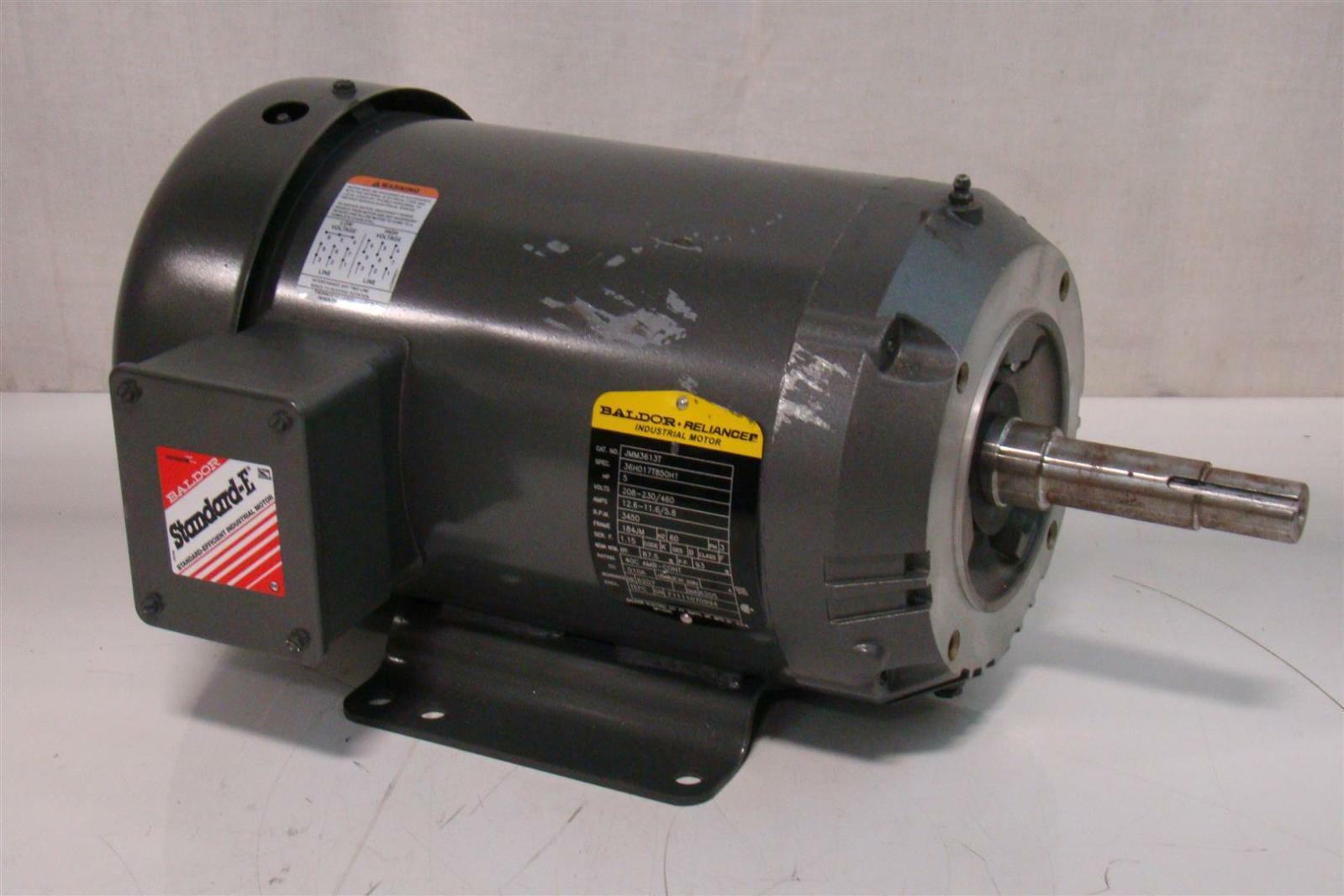 Baldor reliancer 5hp motor 230 460v 13 6 6 8a 1745rpm 3ph for Baldor reliance motor parts