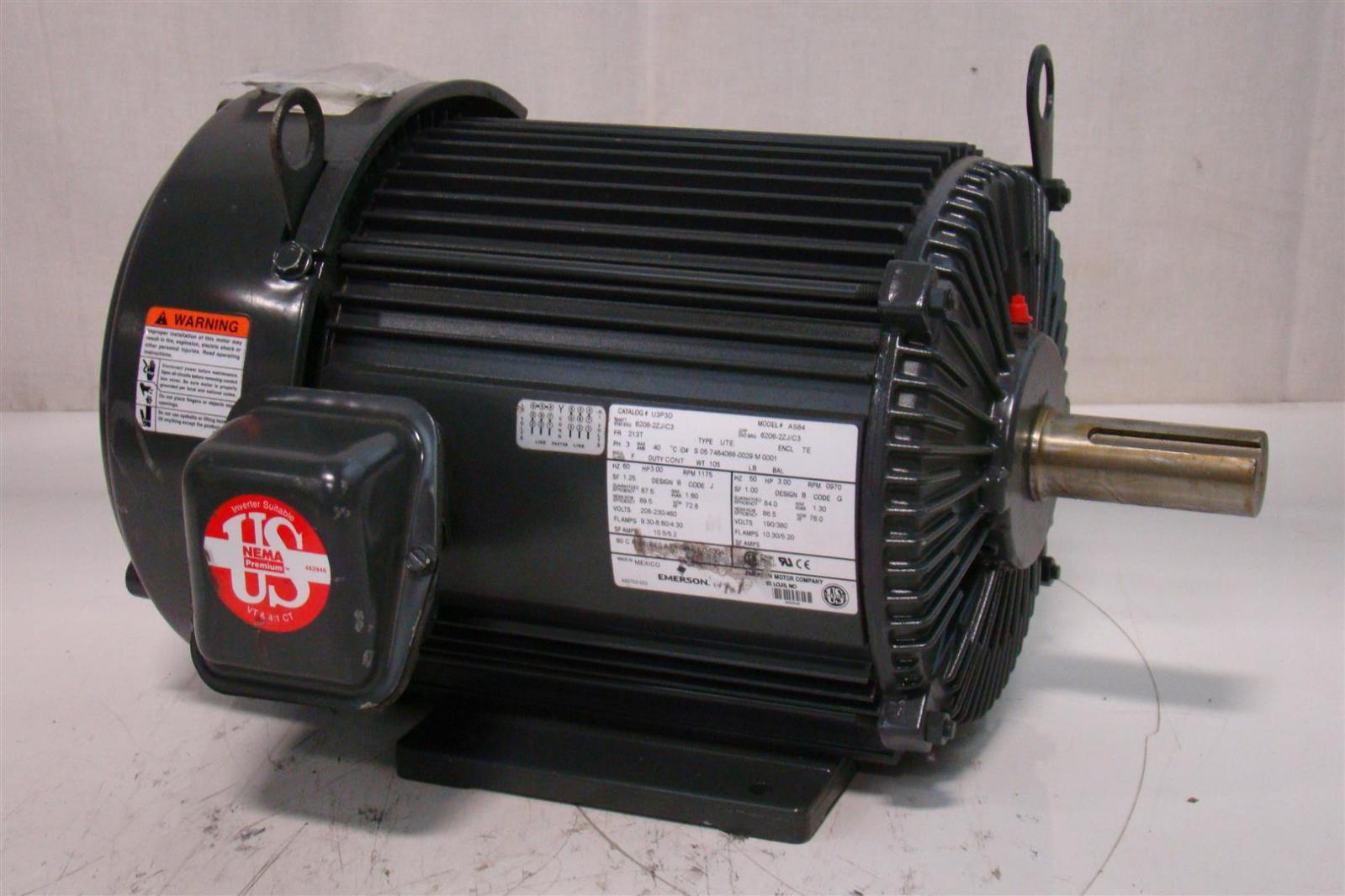 Emerson motor 230 460v 1175rpm 3hp ph3 u3p3d as84 joseph for Emerson electric motor parts