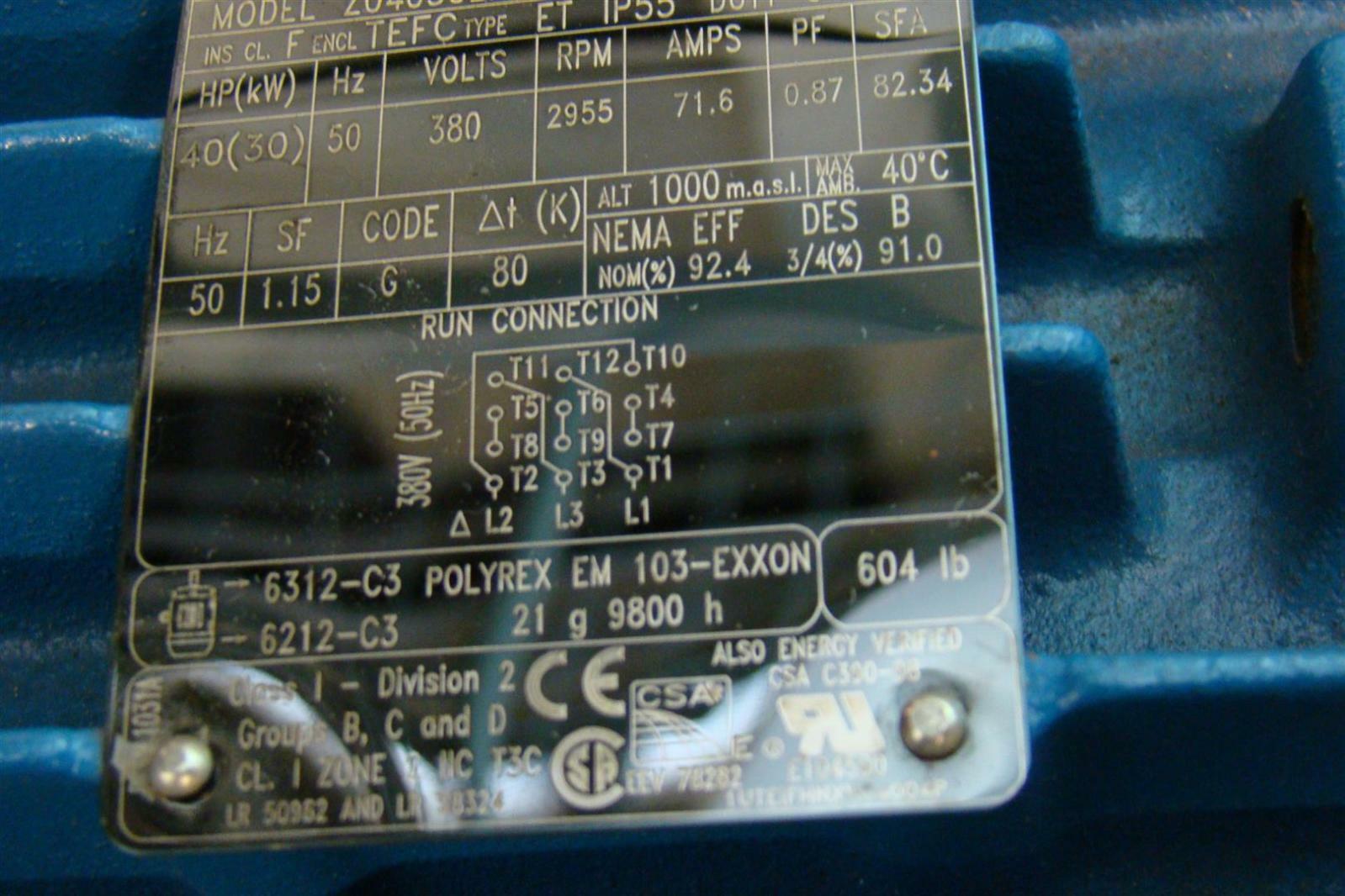 Weg W21 Electric Motor 3ph 380v 2955rpm 40hp