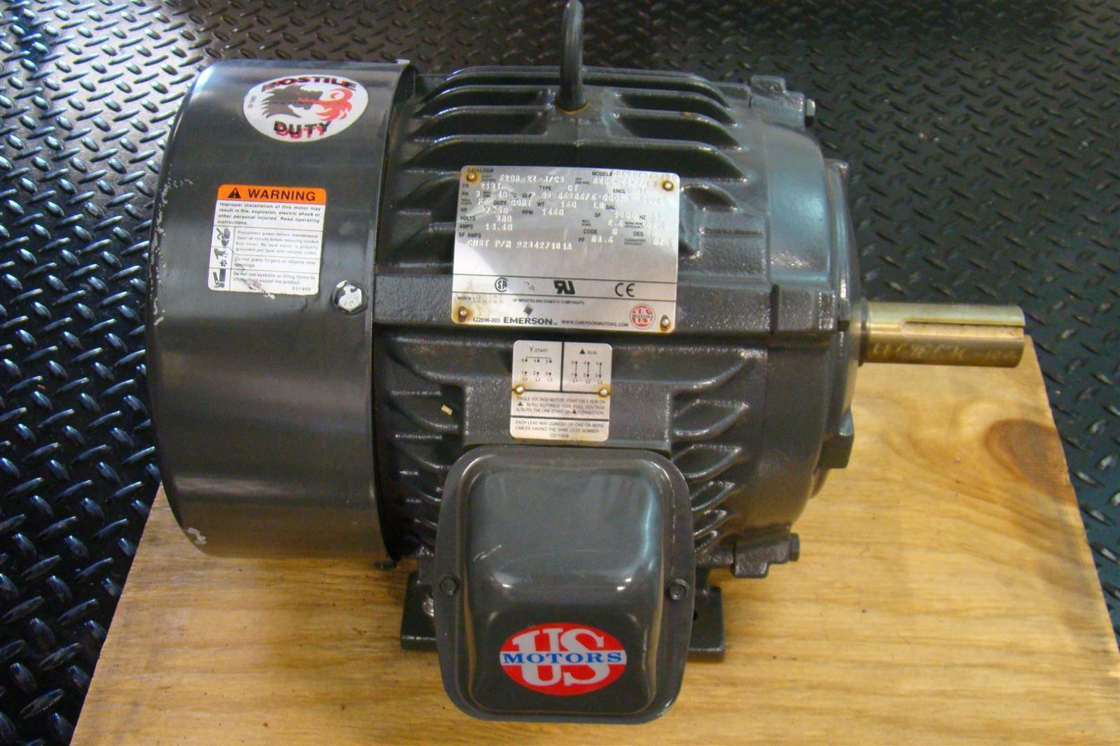 Emerson Electric Motor Ph3 1460rpm 7 5hp 6208 2z J C3