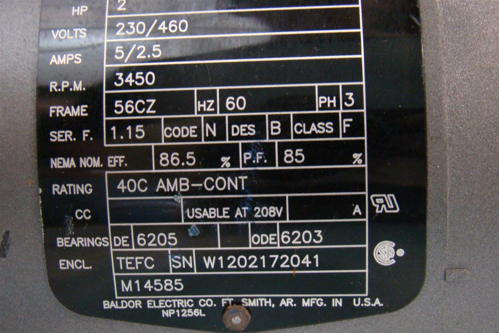 Baldor Reliancer Electric Motor 2hp 230 460v 5 2 5amps Ph3