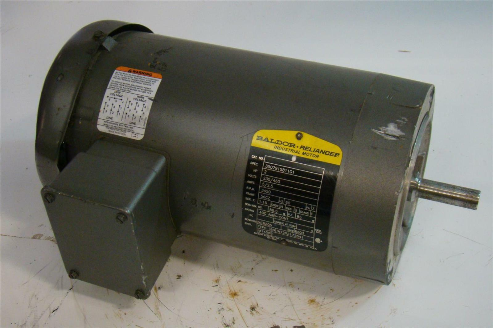 Baldor reliancer electric motor 2hp 230 460v 5 2 5amps ph3 for Used industrial electric motors