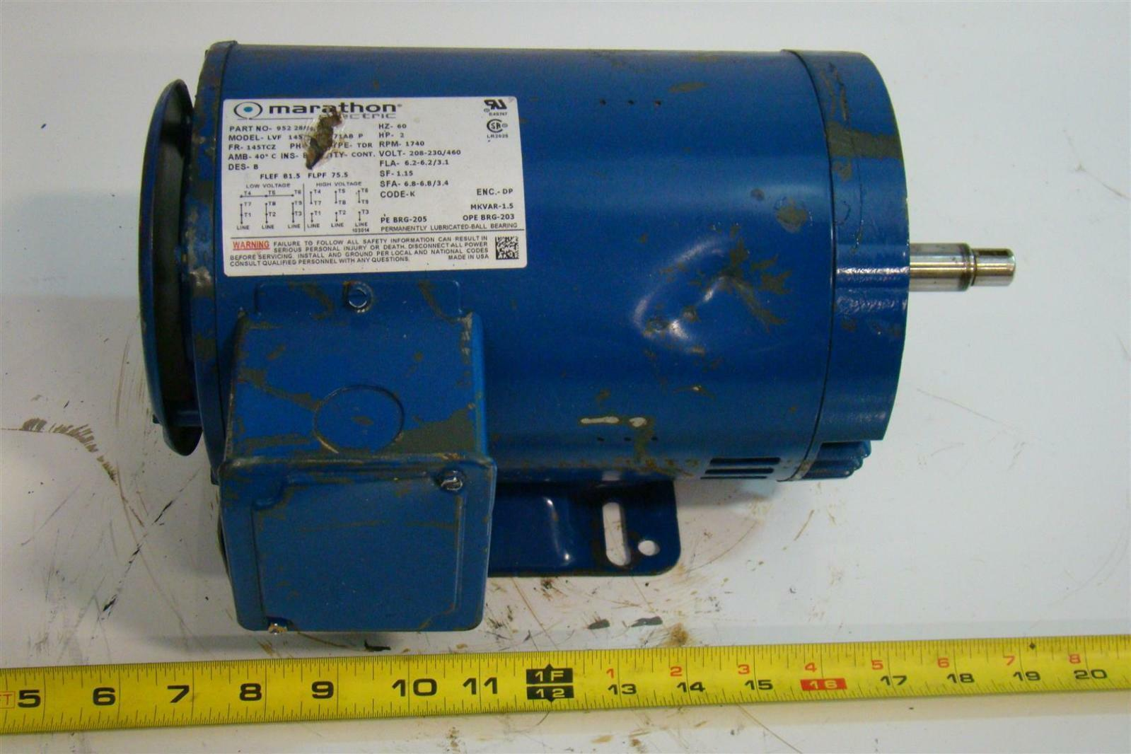 Marathon electric motor 2hp 1740rpm 230 460v 952 28919 ebay for Marathon electric motors model numbers