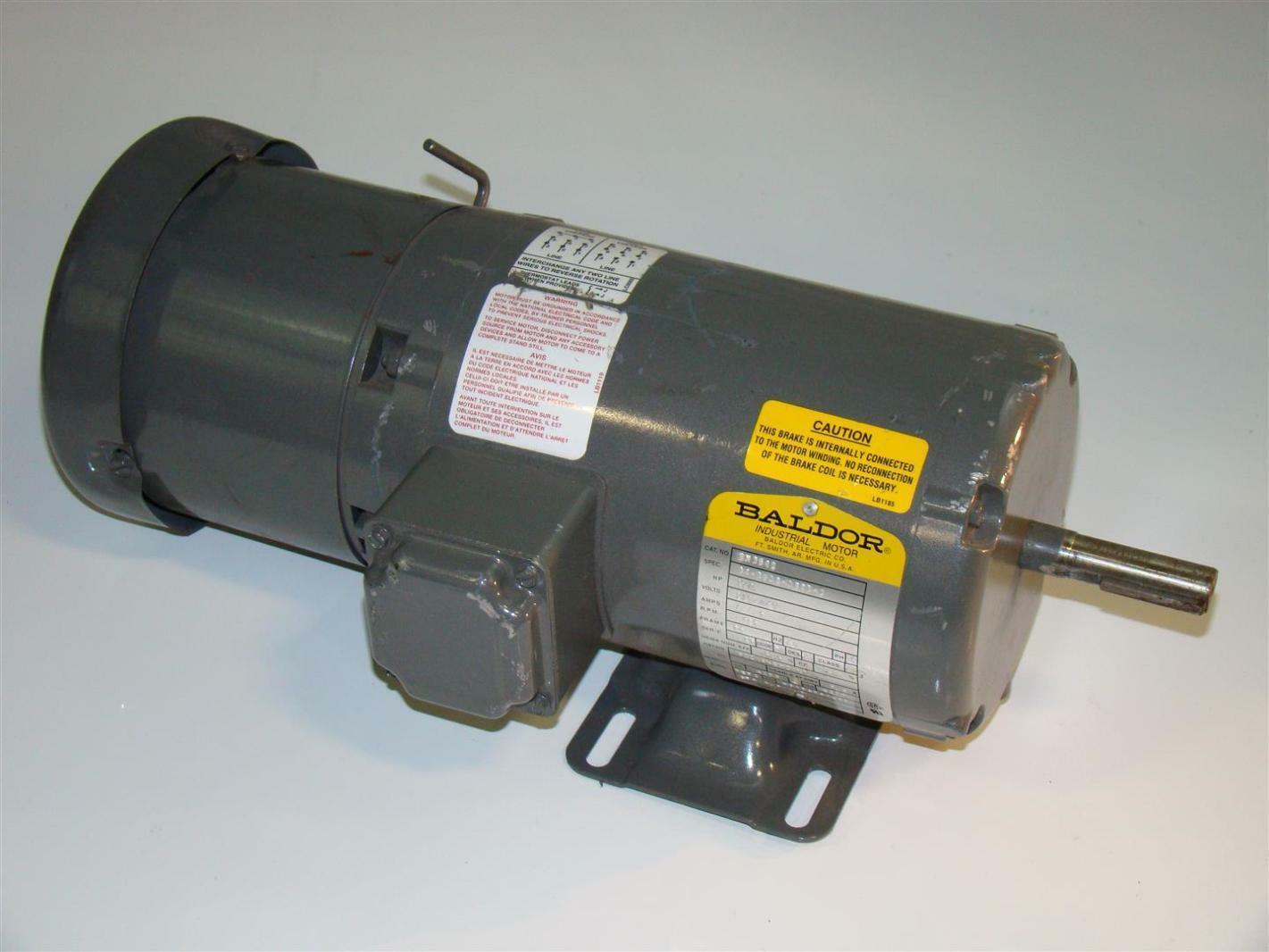 Baldor electric motor 3 4hp brake motor 230 460v 1725rpm for Electrical braking of dc motor