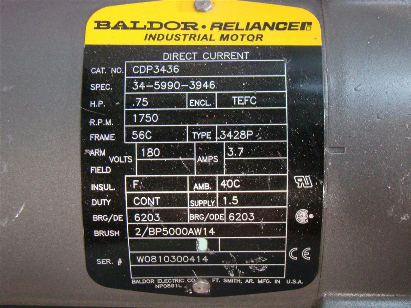Baldor Reliancer DC Electric Motor 75HP 1750Rpm 180V CDP3436