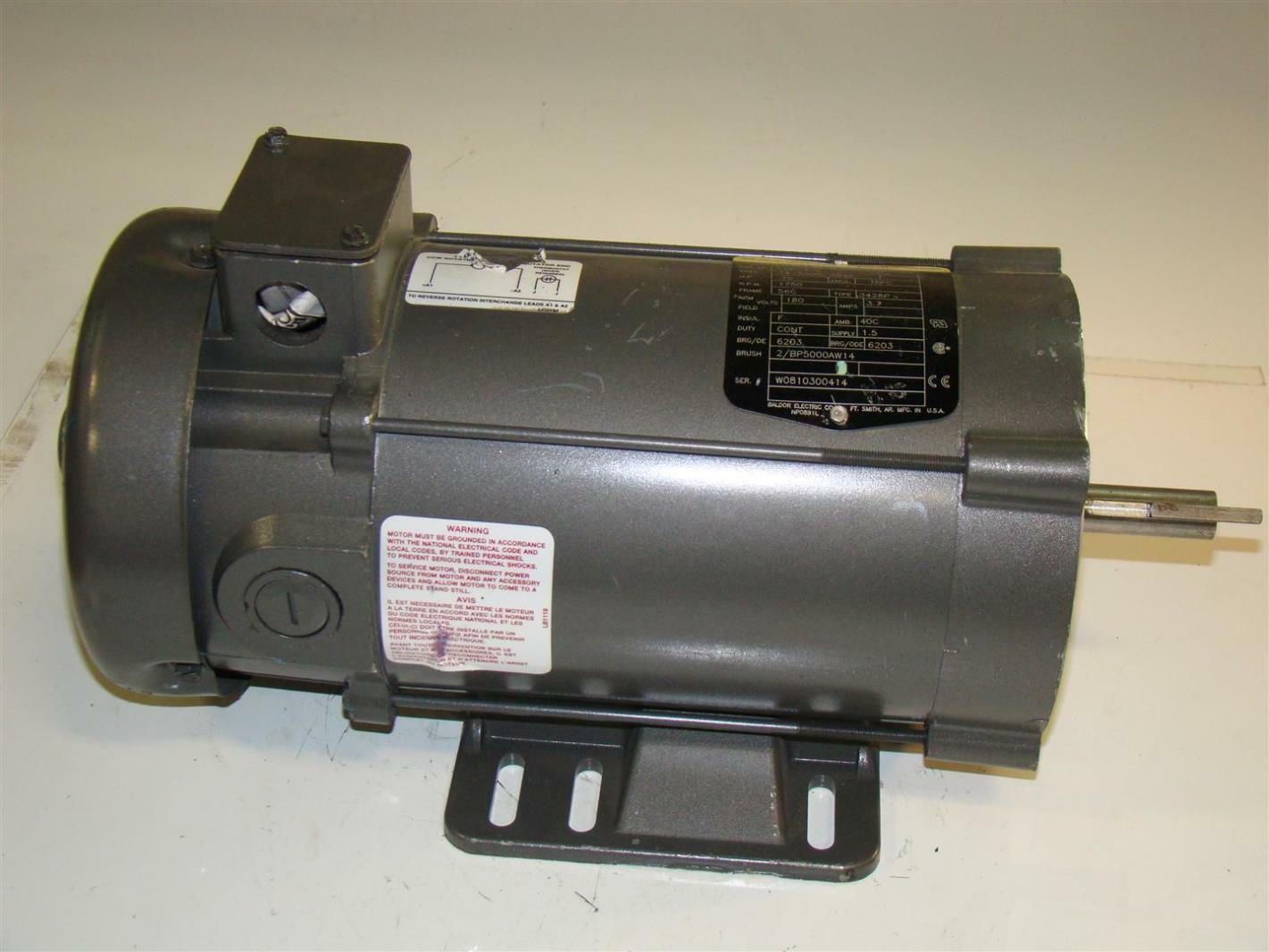 Baldor reliancer dc electric motor 75hp 1750rpm 180v cdp3436 for Baldor industrial motor parts