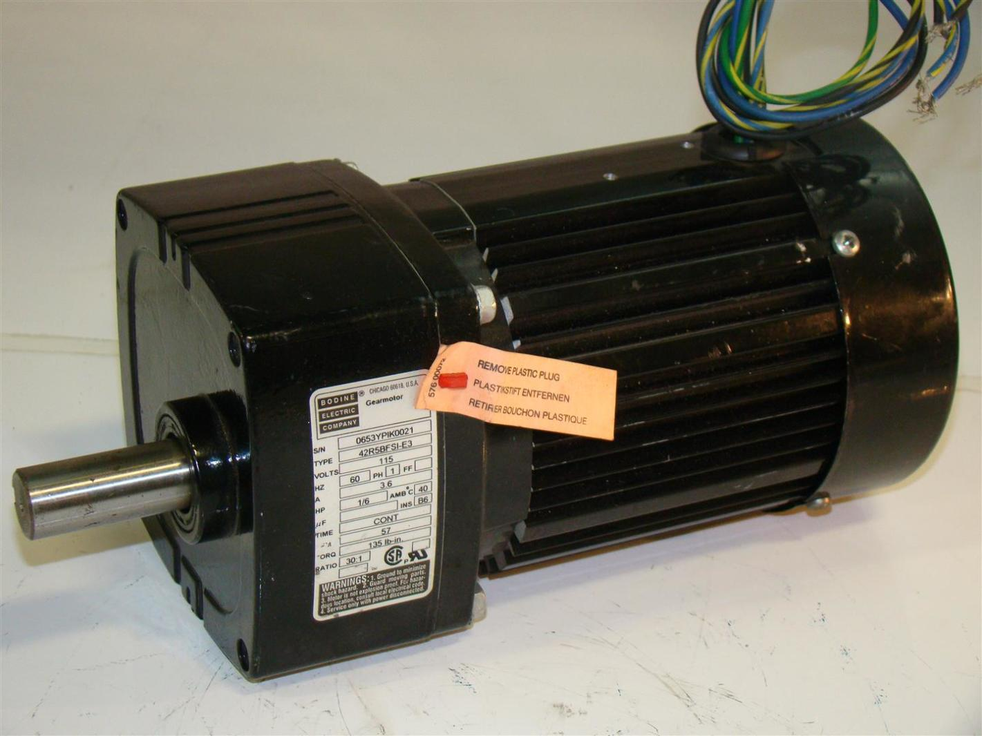 Bodine Electric Gearmotor 115v Ratio30 1 1ph 3 6a 1 6hp