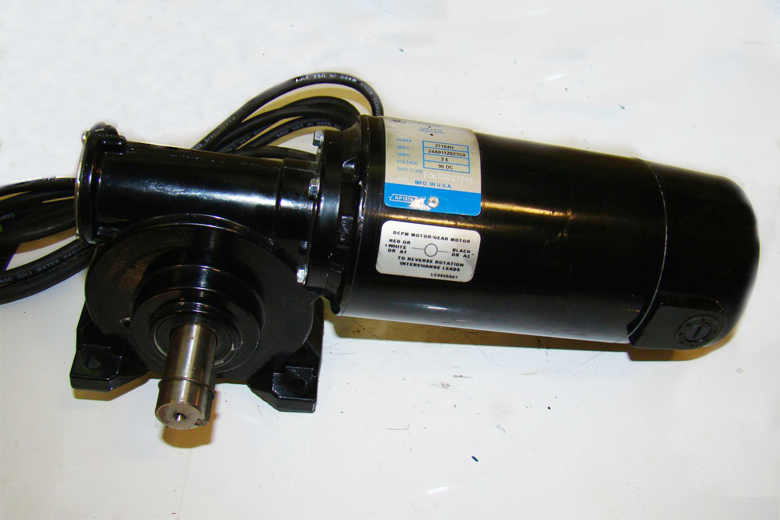 New england machinery 90 vdc 2 6 amp dc gear motor model for 90 volt dc motor