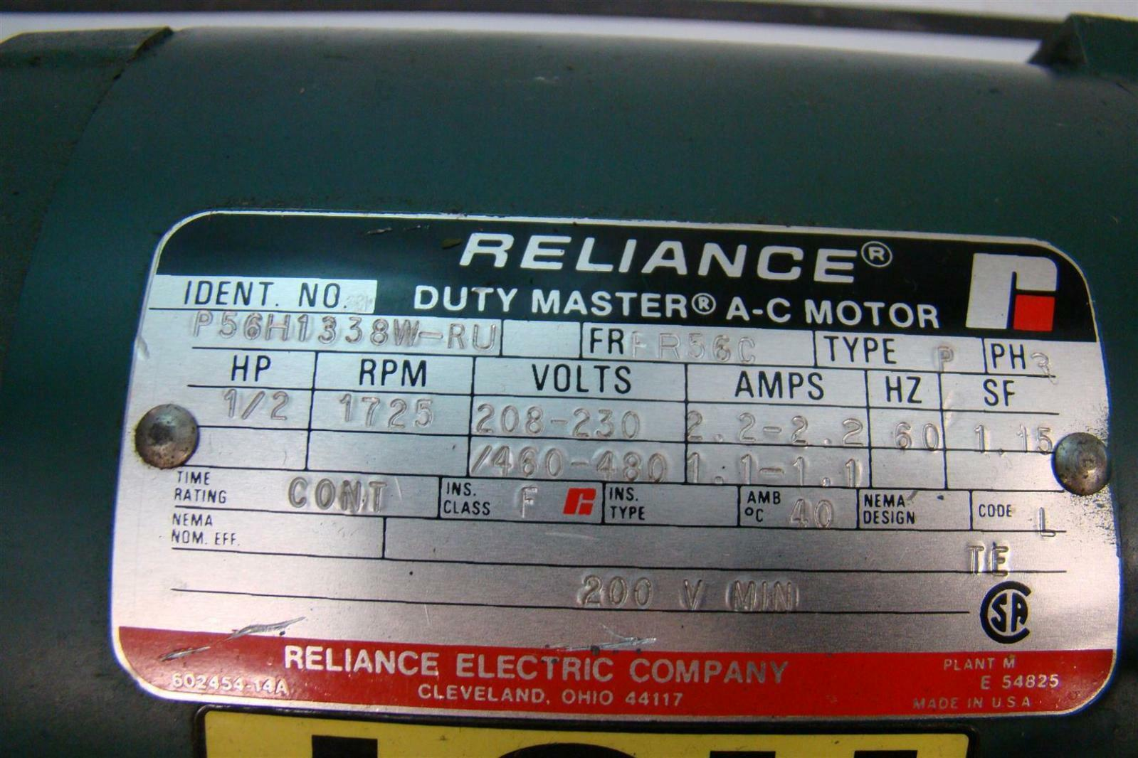 Reliance duty master a c motor 208 230v 2 2amps 1 2hp for Duty master ac motor reliance electric