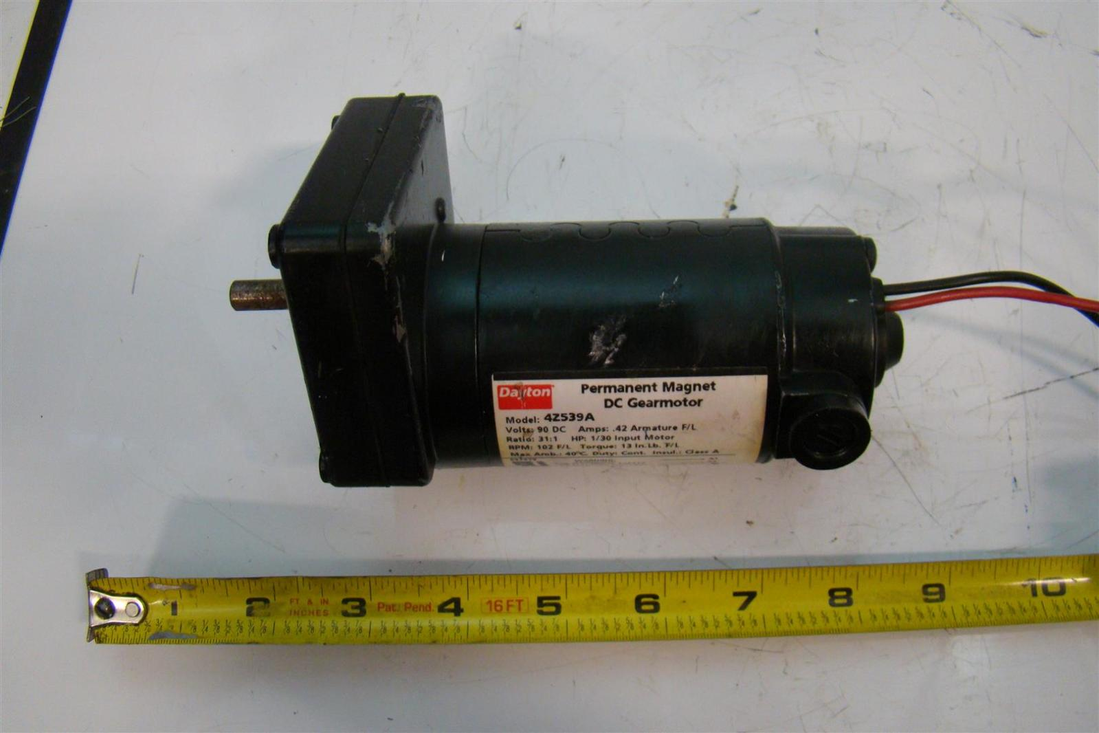 Dayton 4z539a Permanent Magnet Dc Gearmotor 90v Dc 1 30