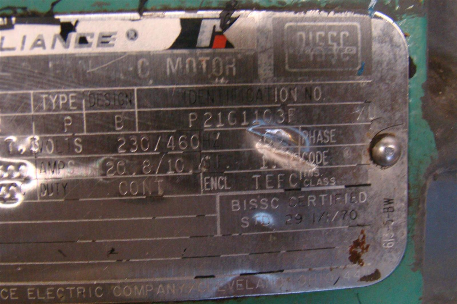Reliance electric motor 7 5 hp 230 460v 20 8 10 amps 215tc for 75 hp electric motor amps