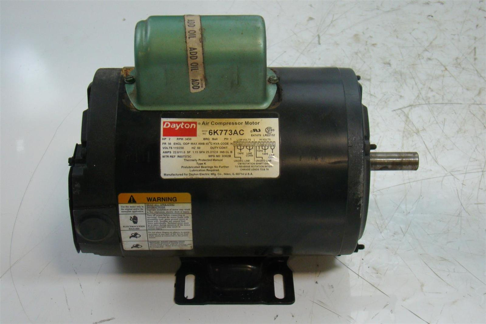 Dayton electric motor 2hp single phase 115 230v 3450rpm for Dayton electric motors customer service