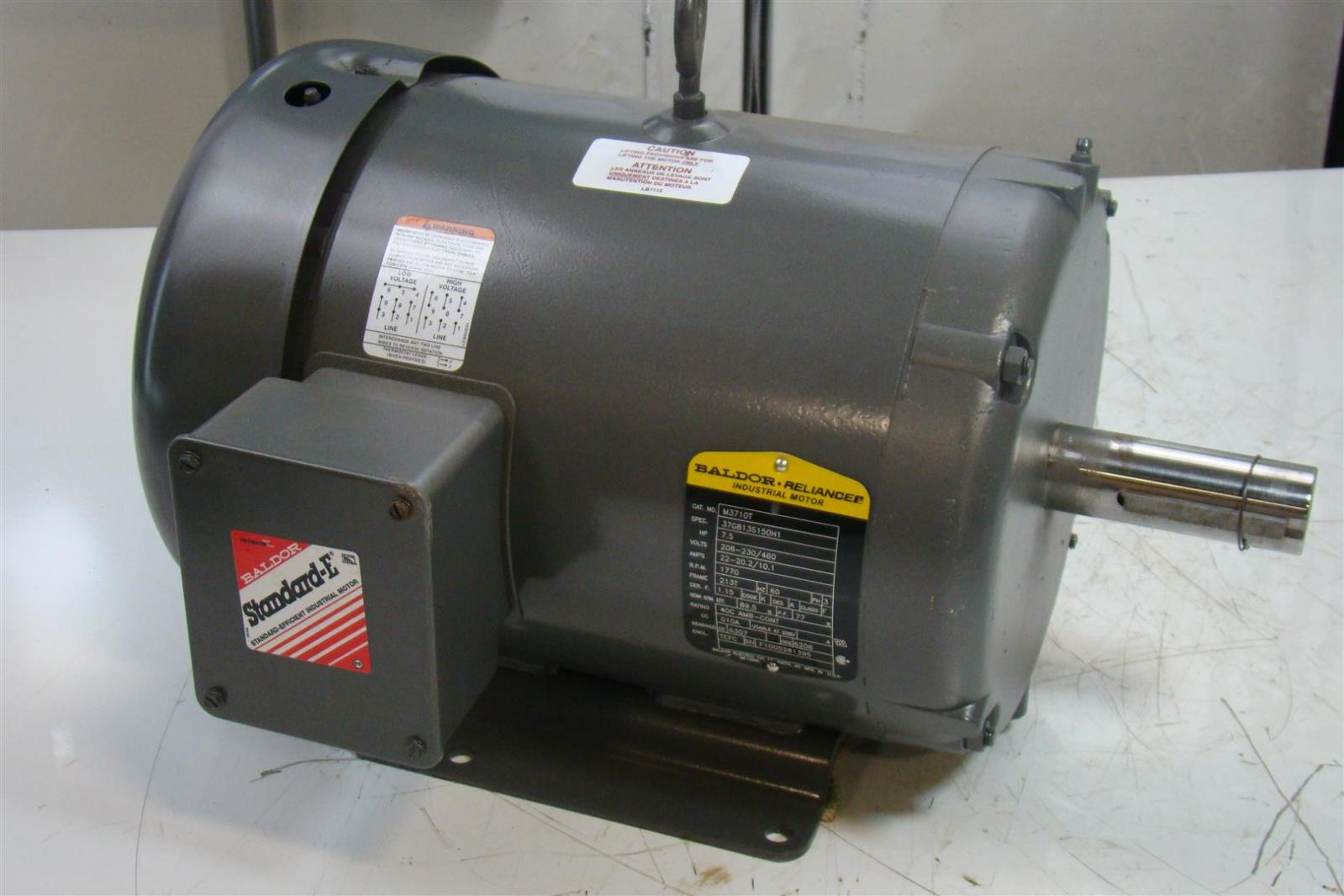 baldor reliance 7 5 hp 208 230 460 v 22 20 2 10 1 amps 3