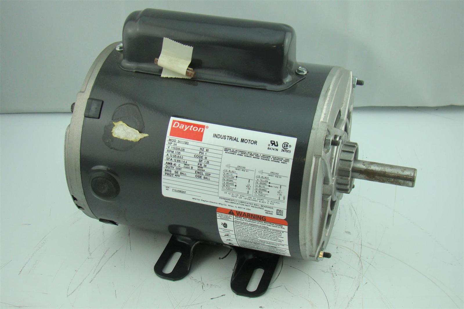 Dayton 3 4hp 1725 Electric Motor 120 240 1ph Single Phase
