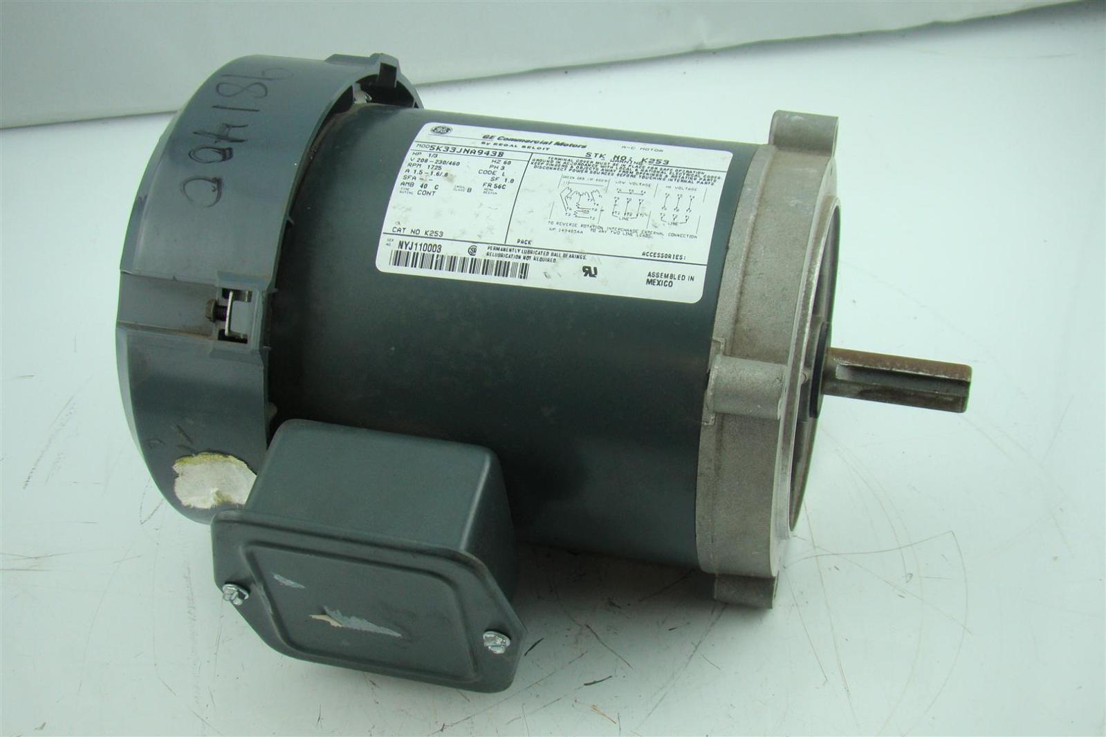 Ge Motor 1 3 Hp 1725 Rpm 3 Phase 60hz A 1 5 1 6 1 8