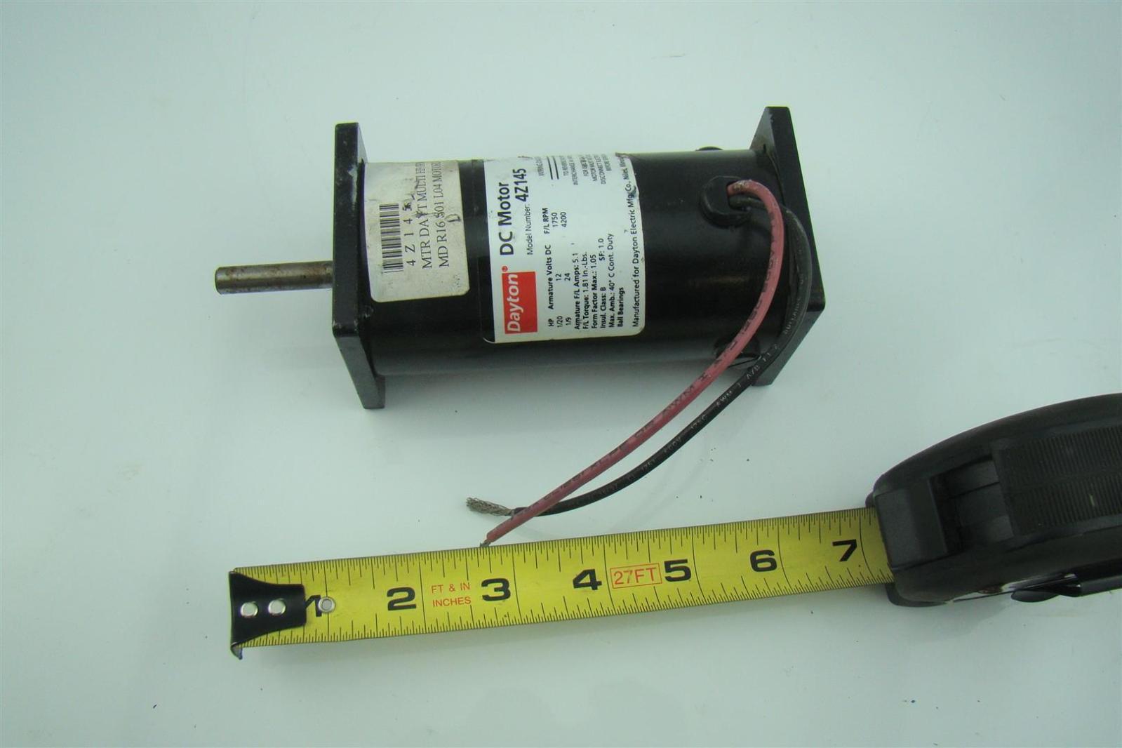 Dayton Dc Motor 1 20 1 9 Hp 12 24 Volts Rpm 1750 4200