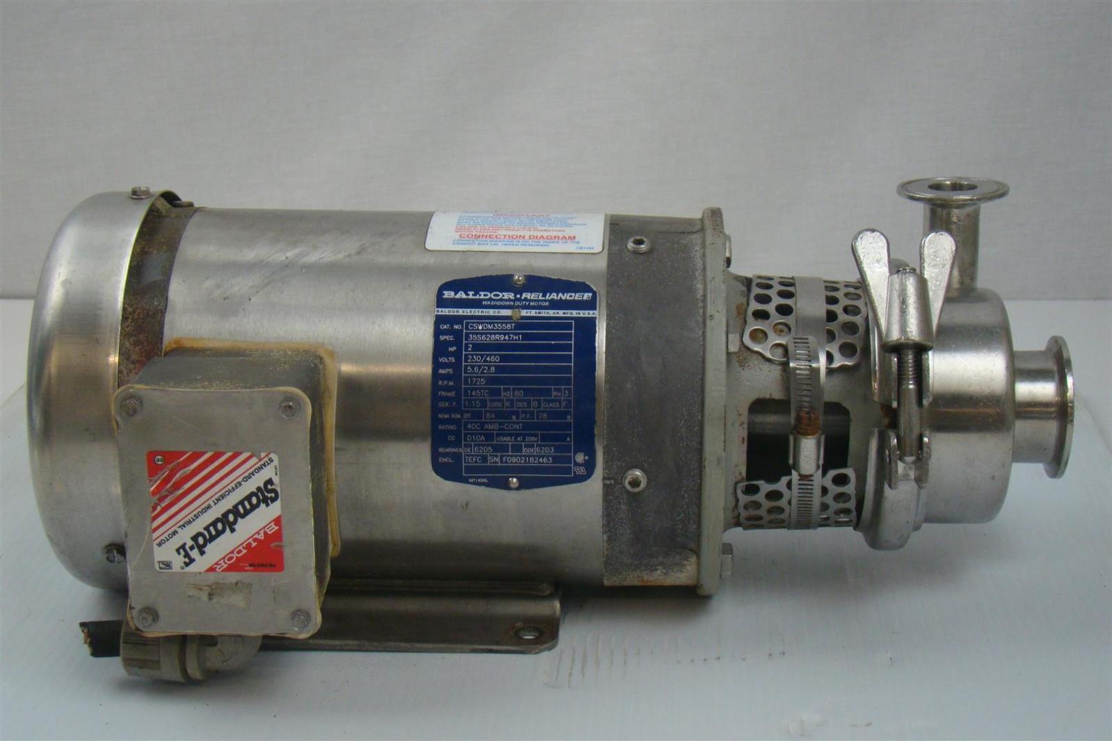 Baldor Motor 2hp 1725rpm 230 460v 5 6 2 8a 60hz 3phase