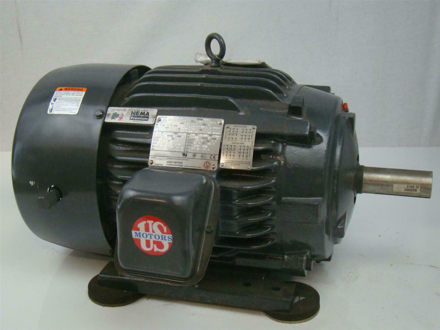 Us Motor 3ph 20hp Nidec Motor 3530rpm 230 460v H20p1d Dn18