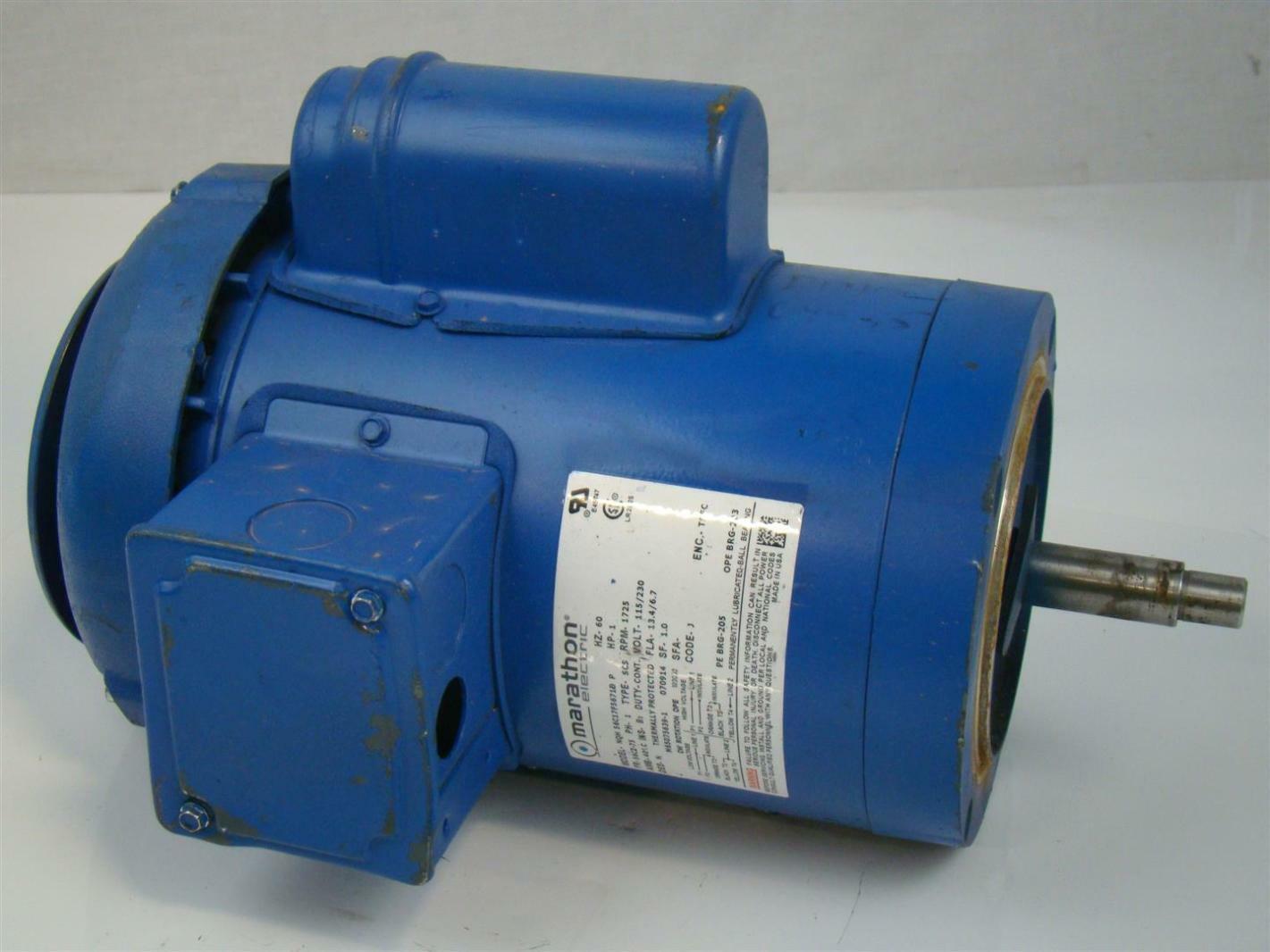 Marathon Electric Motor 1hp Ph1 1725rpm 115 230v Nqh