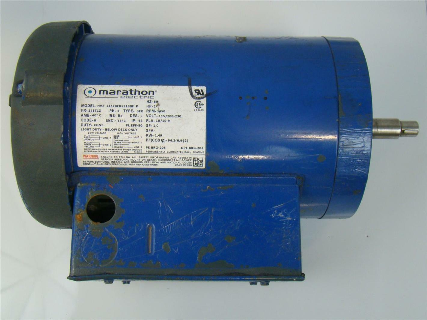 Marathon electric motor 2hp 1ph 230v 3450rpm nvj for Marathon electric motors model numbers