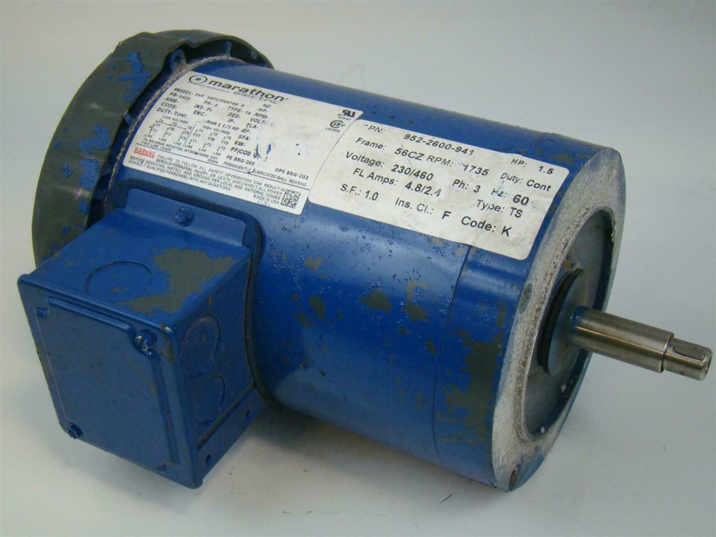 Marathon electric motor ph3 1 1 2hp 1735rpm pvf for Marathon electric motors model numbers
