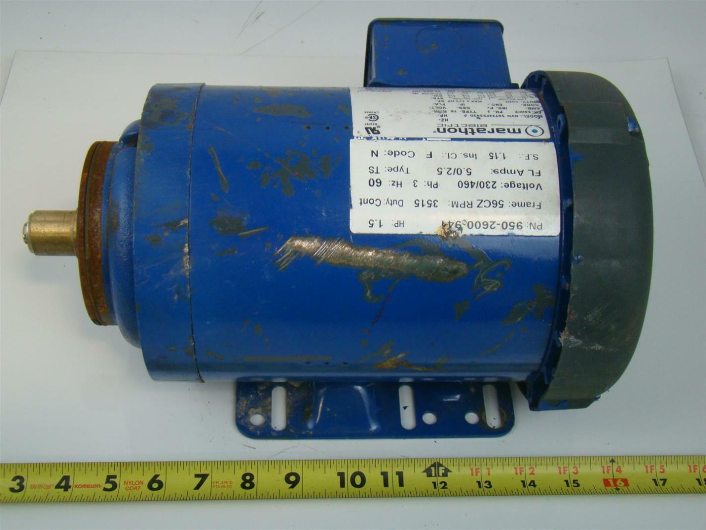 Marathon electric motor ph3 3515rpm 230 460v 1 5hp nvn for Marathon electric motors model numbers