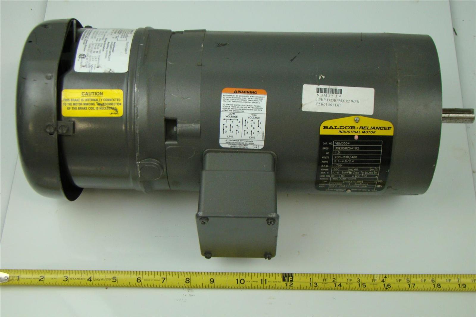 Baldor reliance electricric brake motor 1 5hp 460v 5 1a for Baldor reliance motor parts