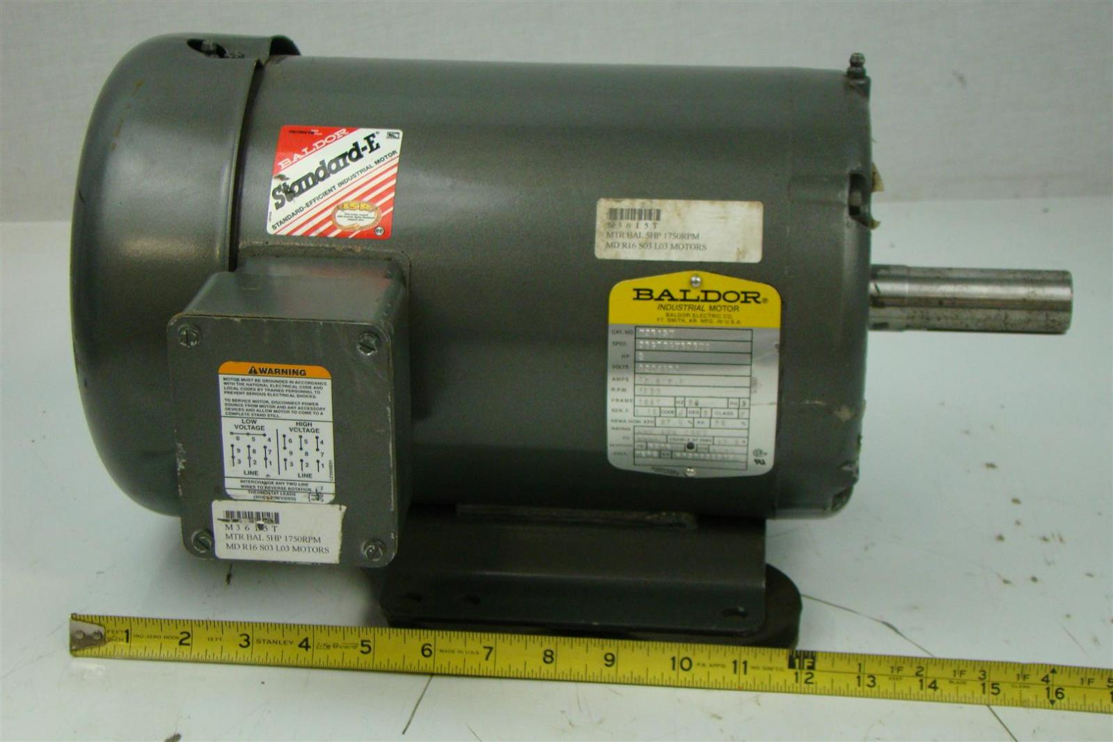 Baldor electricric motor 5hp 230 460v 6 7a 3 5 x 1 for 1 5 hp 3 phase electric motor