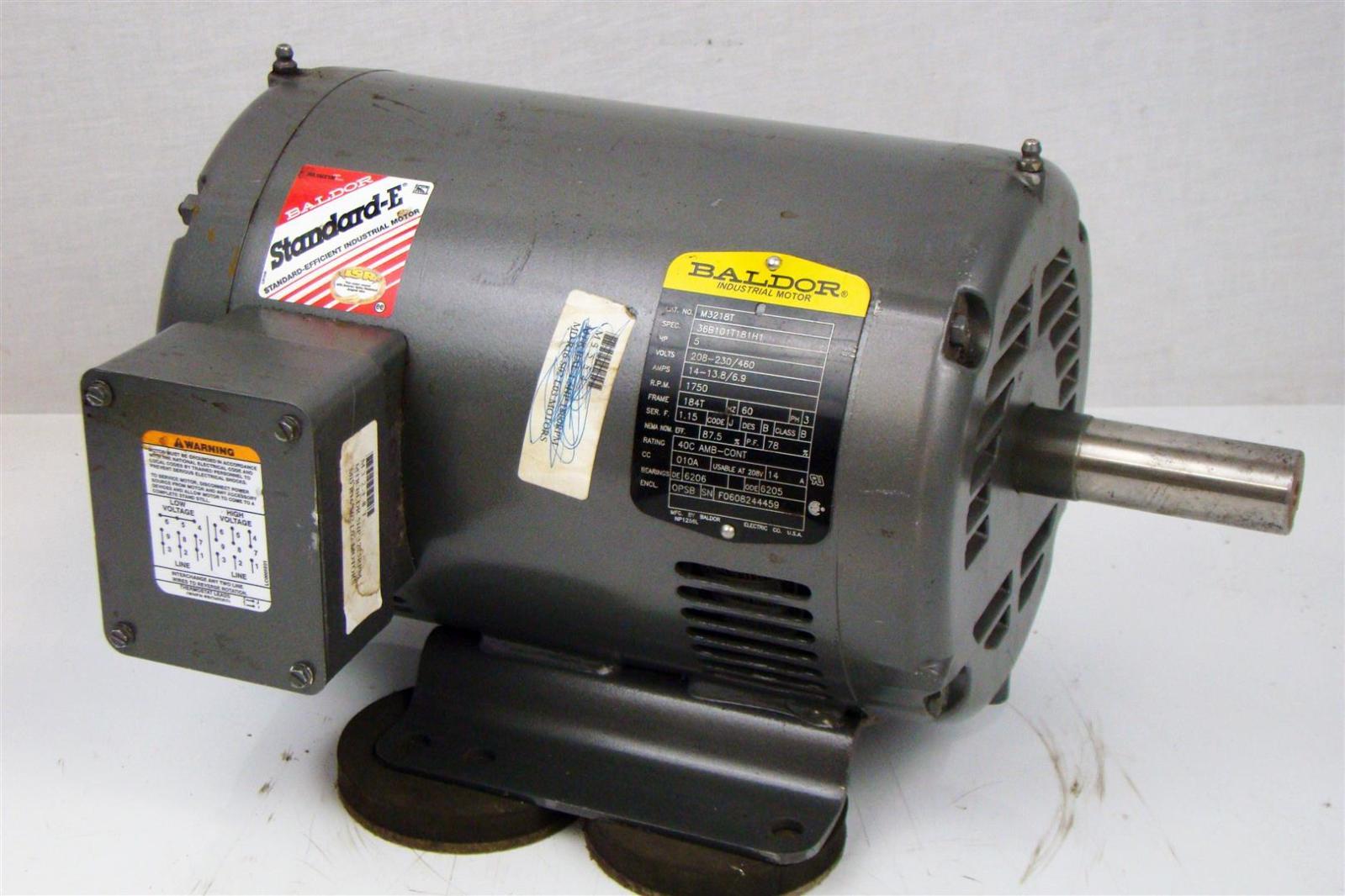 Baldor electricric motor 5hp 230 460v 6 9a 3 5 for Baldor reliance motor parts