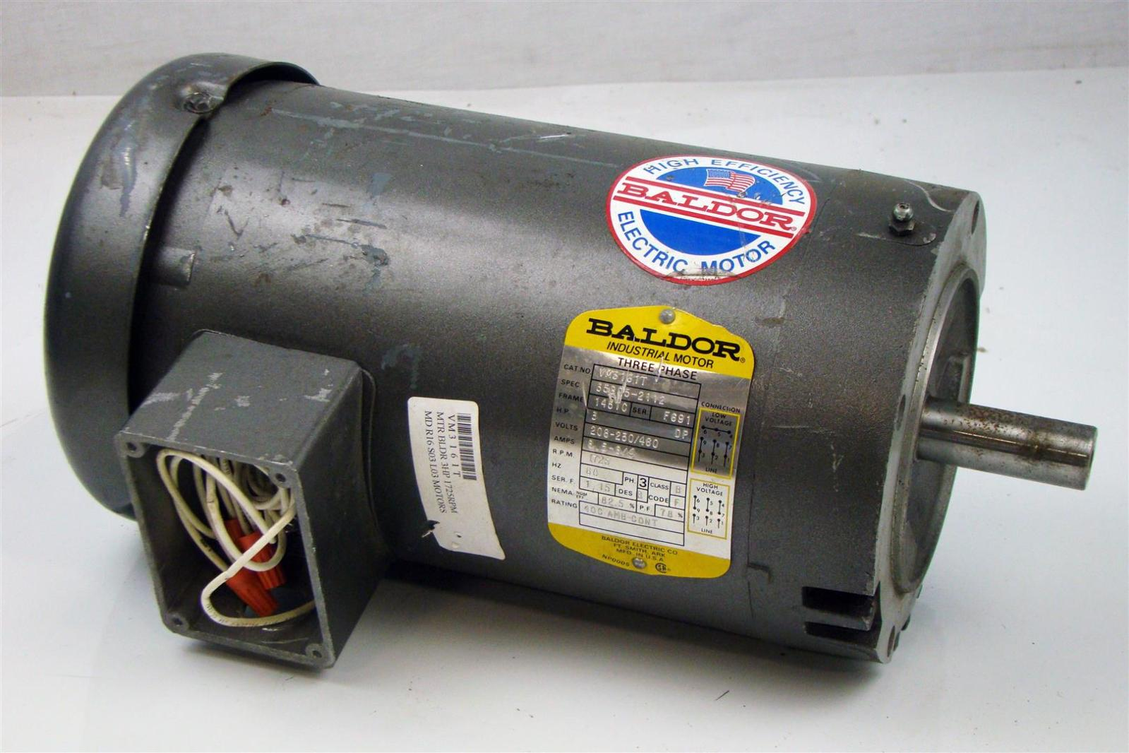Baldor Electric Motor 3hp 230 460v 8 5a