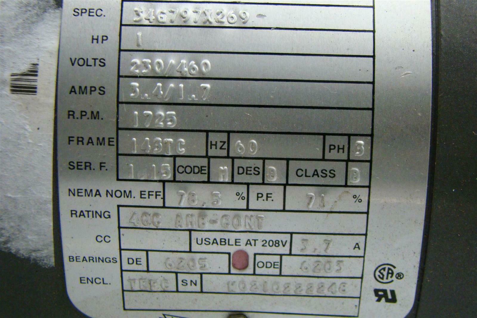 Electricric Motor 1 Hp 230 460V 1.7A 2.25 X.878 Shaft P3  #404862
