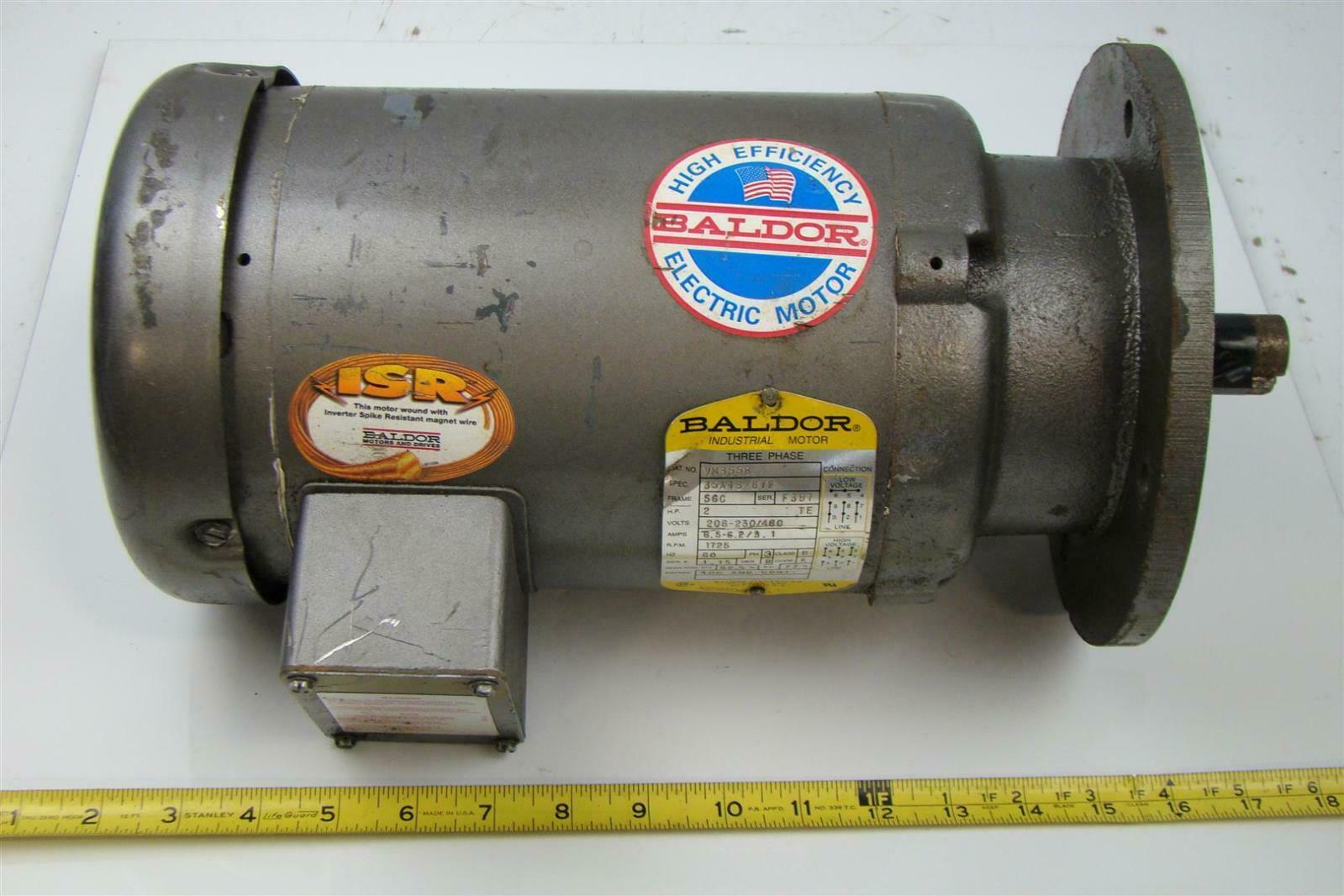 Baldor electricric motor 2 hp 230 460v 56c 2 3 8 for Class b electric motor
