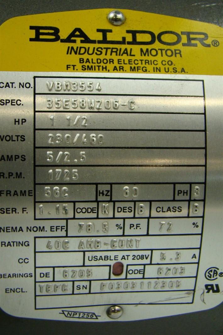 Baldor Electricric Brake Motor 1 5 Hp 230 460v 2 25 Quot X