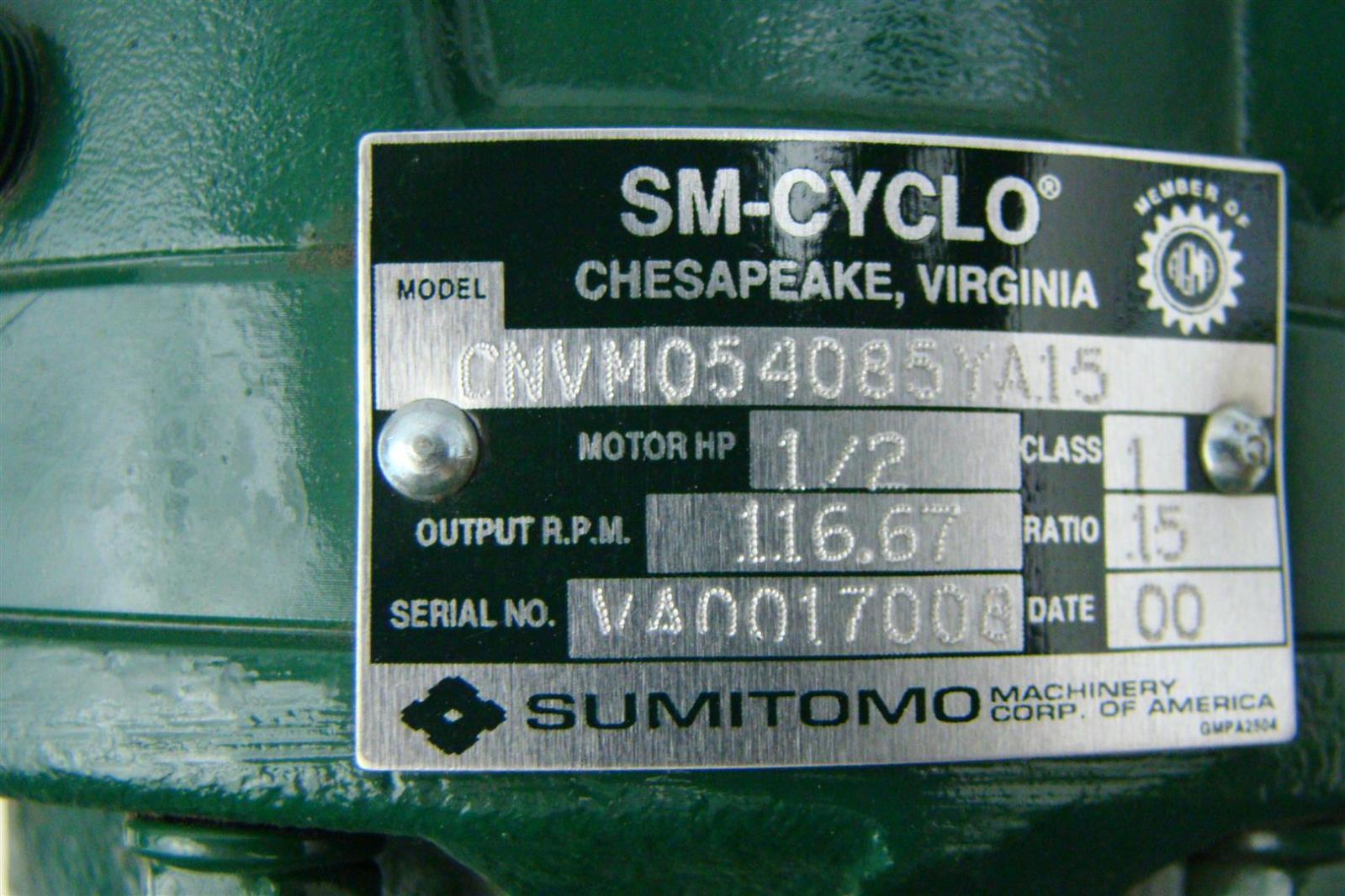 Sumitomo SM-Cyclo 3ph induction motor  1/2HP 230/460V 2.1A 1740RPM CNVM054085YA15