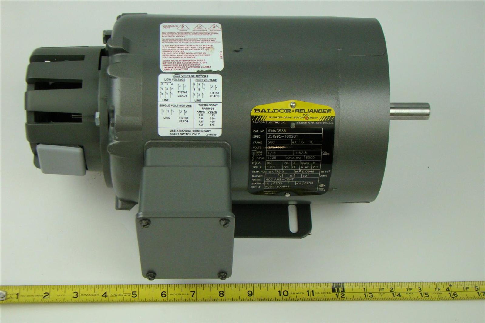 Baldor reliancer electric motor 230 460v 1725rpm 5hp 3ph for 5hp 3ph electric motor