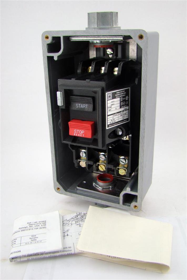 Square d manual motor starter 2510mbw2 575v 5hp max ebay for Circuit breaker for 7 5 hp motor