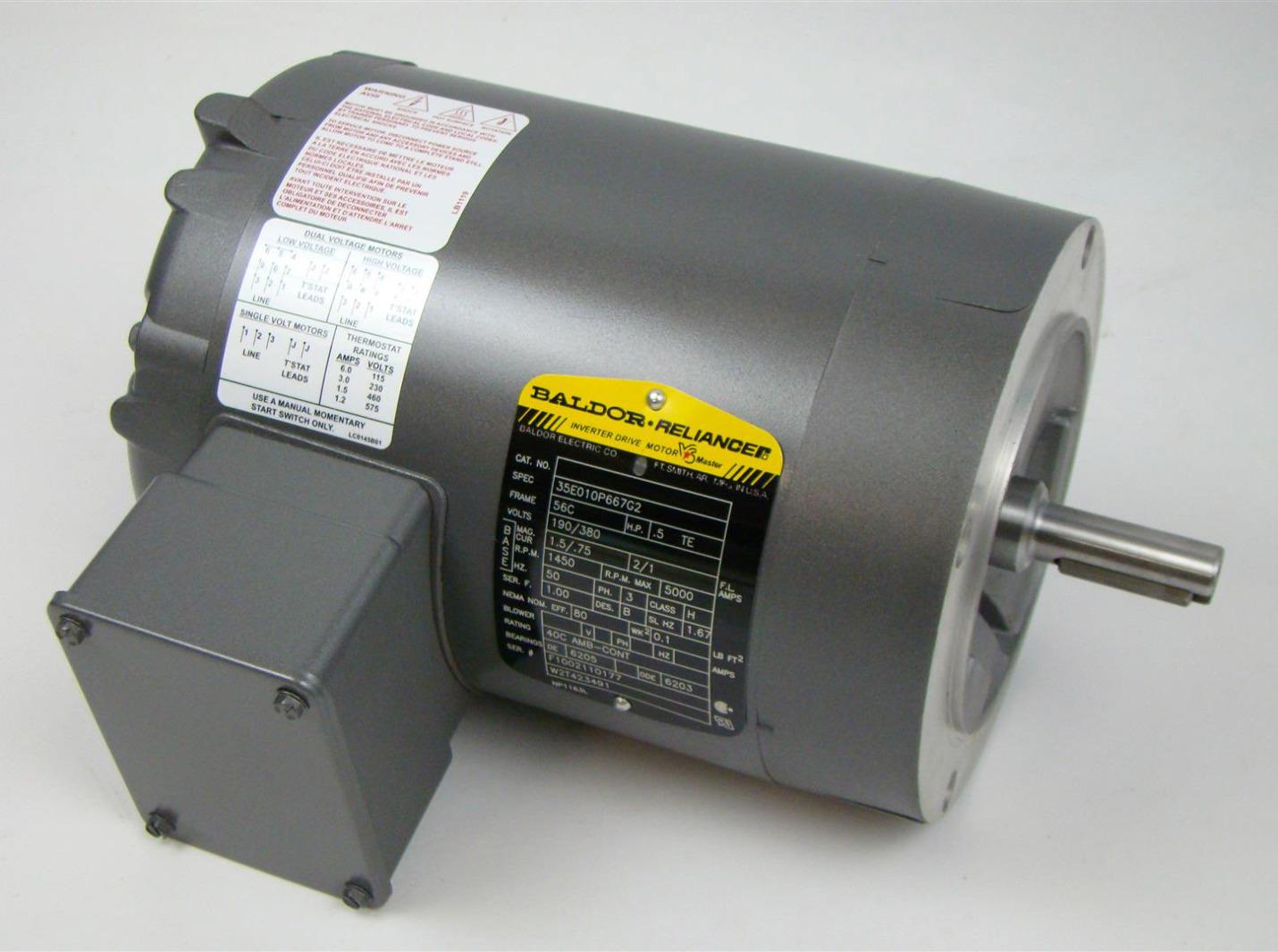 Baldor Reliancer Dc Motor 1450rpm 3ph 56c 1 2hp 190 380v 35w010p667g2 Joseph Fazzio Incorporated