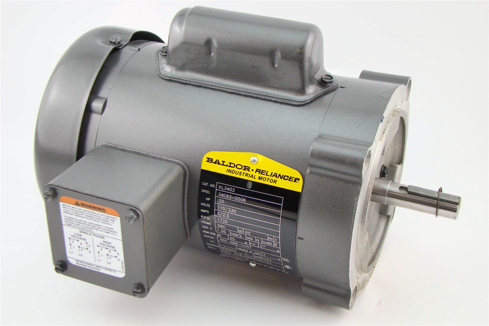 Baldor reliancer industrial motor 25hp 115 230v single for Baldor industrial motor parts