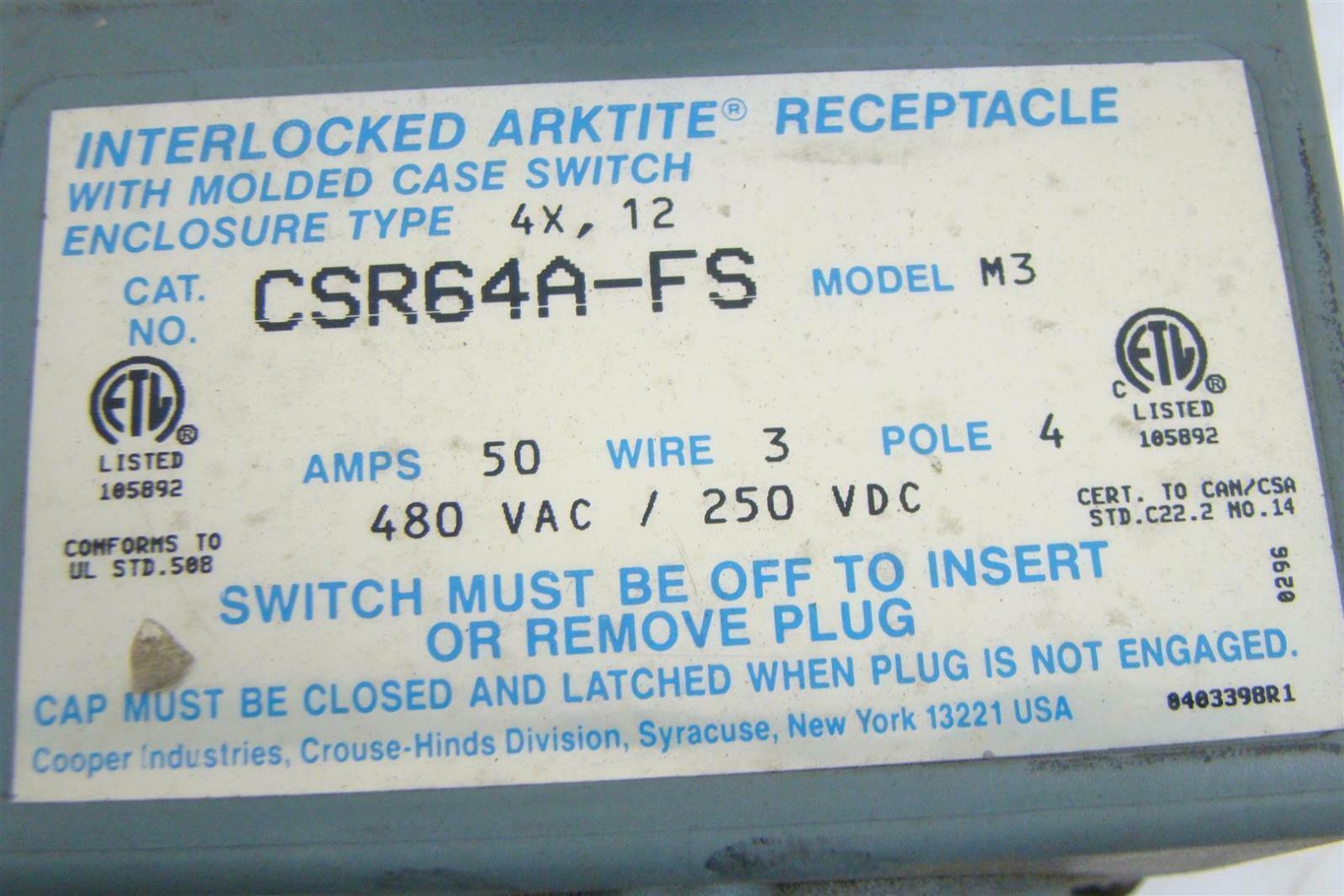 Interlocked Arktite Receptacle 50a, 3 wire, 4 P, 480 V M3 | Joseph ...